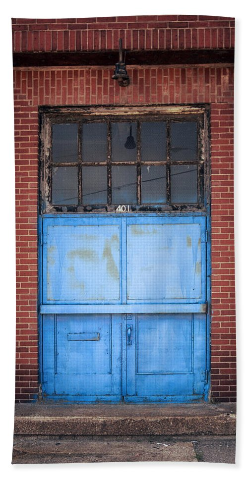 Corrugated Siding Hand Towel featuring the photograph 401 Blue Factory Door by Greg Kluempers