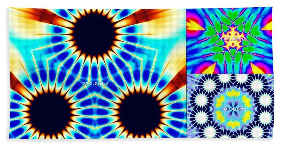 Sacredlife Mandalas Hand Towel featuring the digital art 432hz Cymatics Grid by Derek Gedney