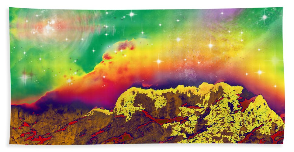 Augusta Stylianou Hand Towel featuring the digital art Space Landscape by Augusta Stylianou