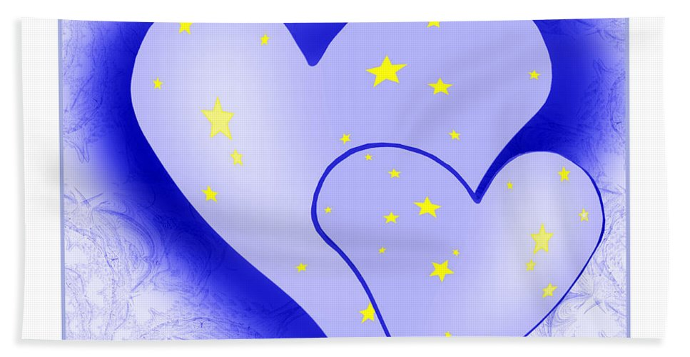 Abstract Bath Sheet featuring the painting 457 - Two Hearts Blue by Irmgard Schoendorf Welch