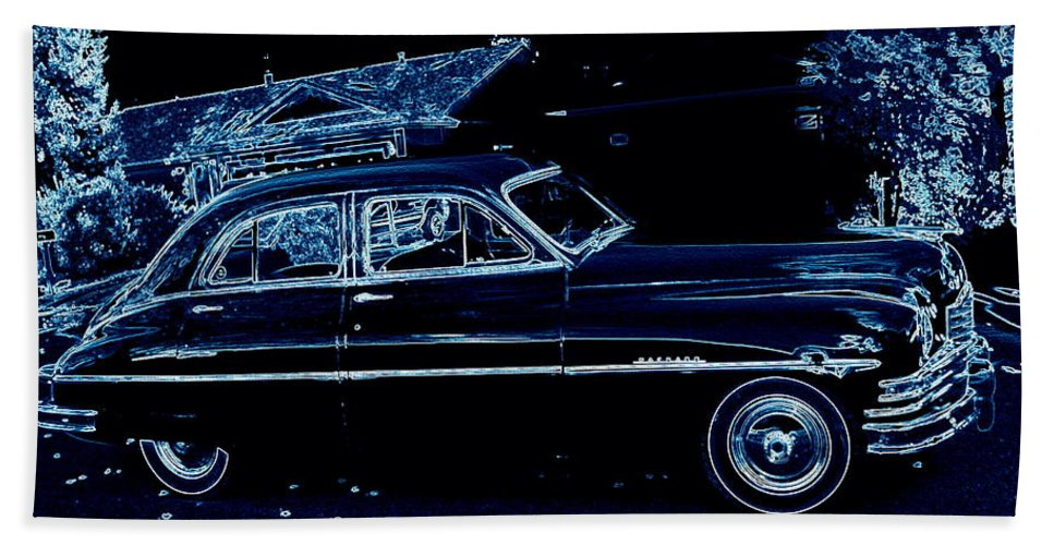 49 Hand Towel featuring the digital art 49 Packard Survived by Bobbee Rickard