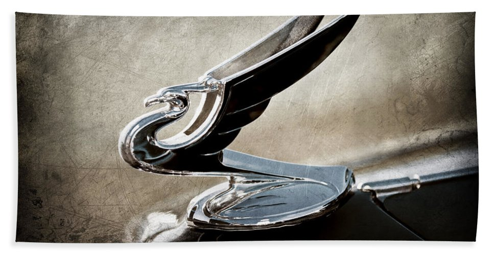 1935 Chevrolet Hood Ornament Hand Towel featuring the photograph 1935 Chevrolet Hood Ornament by Jill Reger