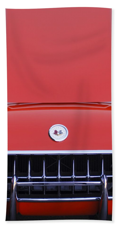 1957 Chevrolet Corvette Grille Bath Towel featuring the photograph 1957 Chevrolet Corvette Grille by Jill Reger