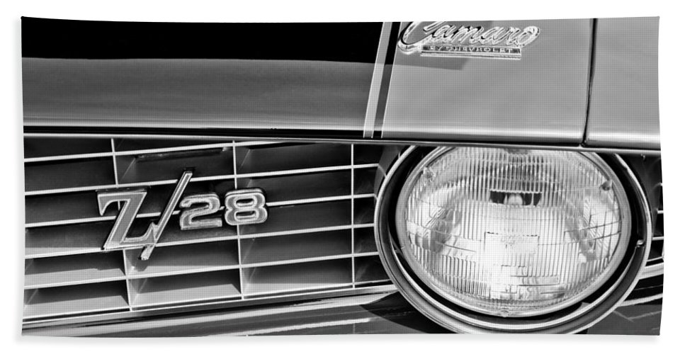 1969 Chevrolet Camaro Z 28 Grille Emblem Bath Sheet featuring the photograph 1969 Chevrolet Camaro Z 28 Grille Emblem by Jill Reger