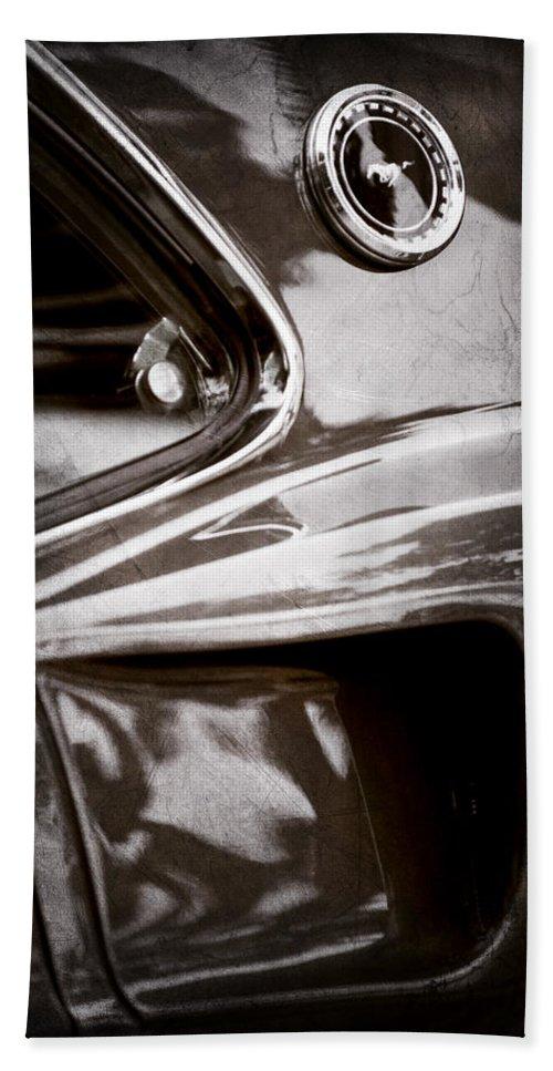 1969 Ford Mustang Mach 1 Emblem Bath Sheet featuring the photograph 1969 Ford Mustang Mach 1 Emblem by Jill Reger