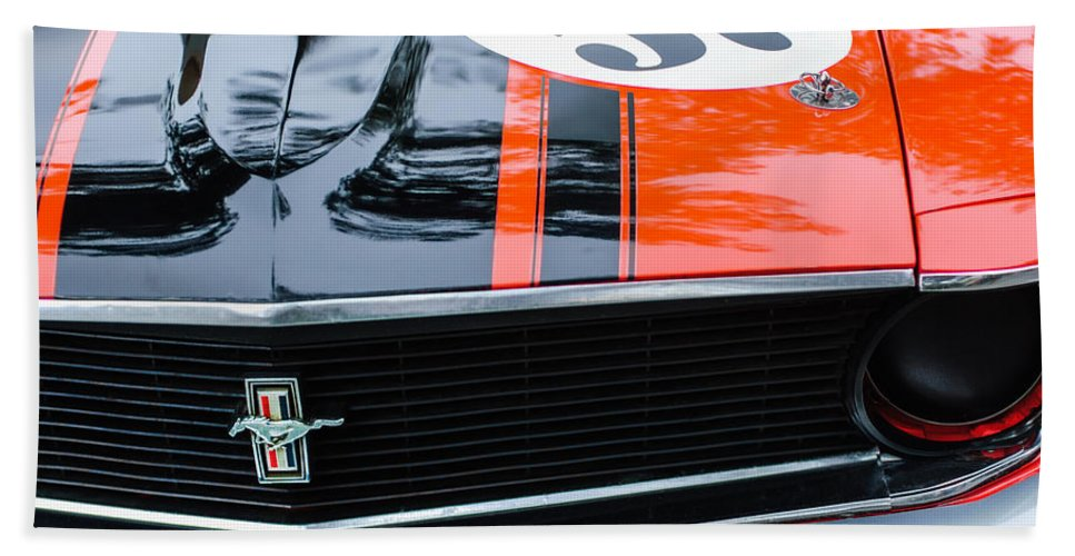 1970 Ford Mustang Boss 302 Grille Emblem Bath Sheet featuring the photograph 1970 Ford Mustang Boss 302 Grille Emblem by Jill Reger