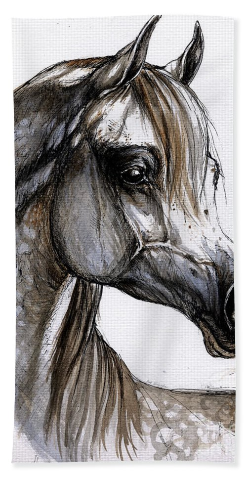 Horse Hand Towel featuring the painting Arabian Horse by Angel Ciesniarska