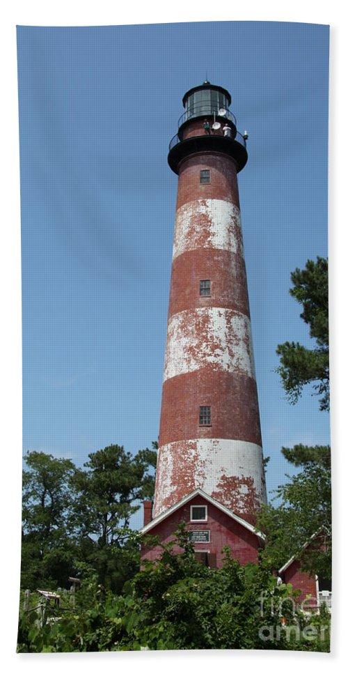 Lighthouse Bath Sheet featuring the photograph Assateague Lighthouse by Christiane Schulze Art And Photography