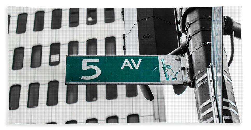 New York Bath Sheet featuring the photograph 5 Ave. Sign by Sam Garcia