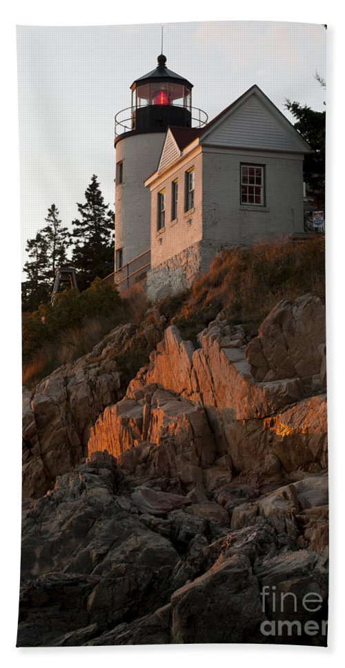 Bass Harbor Bath Sheet featuring the photograph Bass Harbor Head Lighthouse by John Shaw