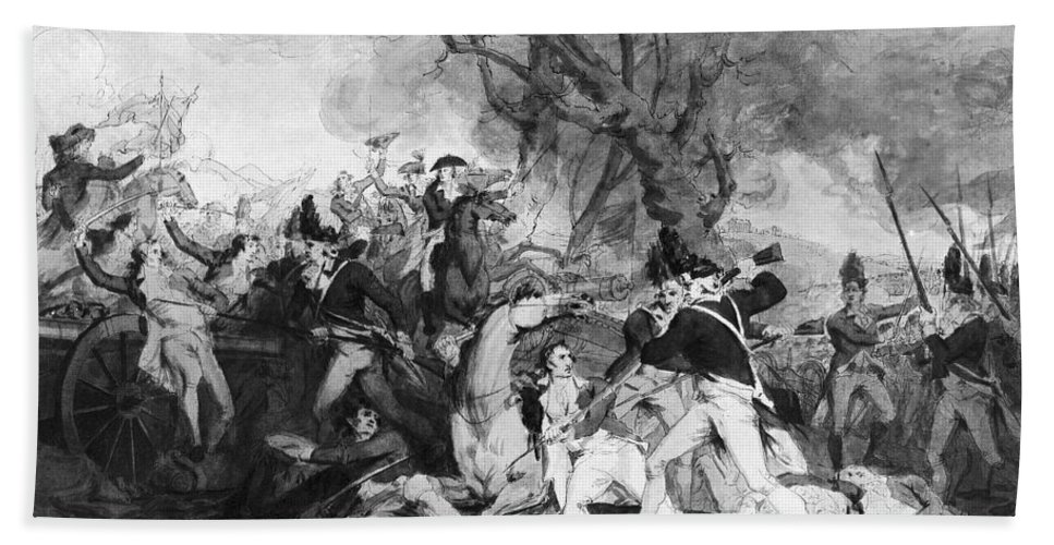 1777 Hand Towel featuring the photograph Battle Of Princeton, 1777 by Granger