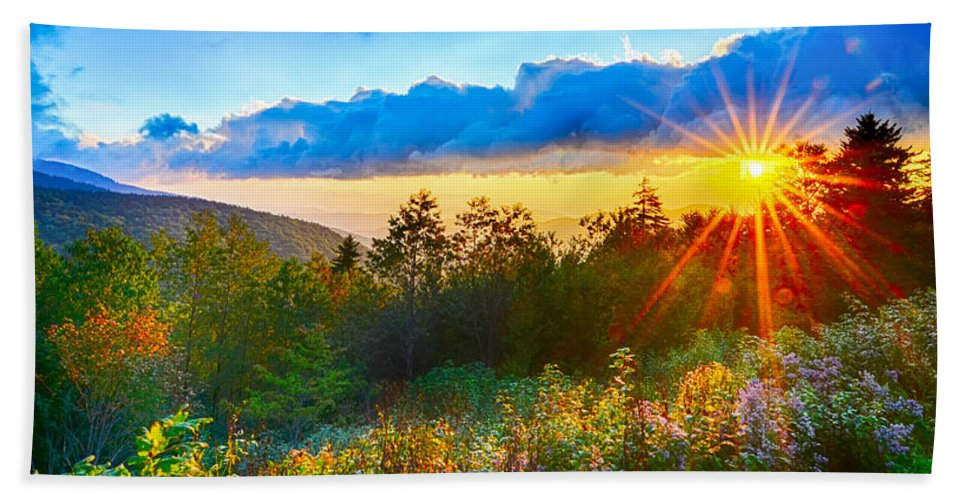 Autumn Bath Sheet featuring the photograph Blue Ridge Parkway Late Summer Appalachian Mountains Sunset West by Alex Grichenko