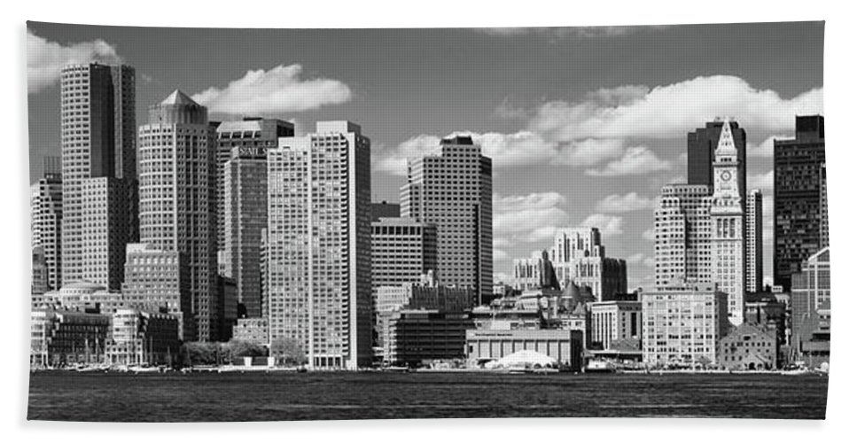 Photography Bath Sheet featuring the photograph Buildings At The Waterfront, Boston by Panoramic Images