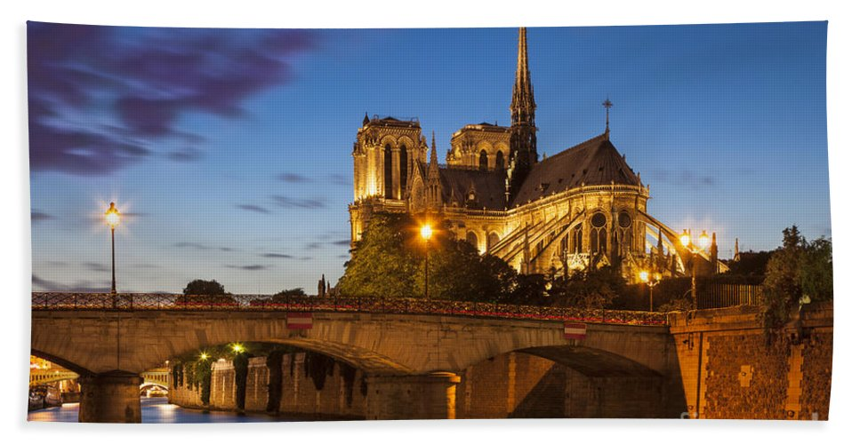Architectural Bath Sheet featuring the photograph Cathedral Notre Dame by Brian Jannsen