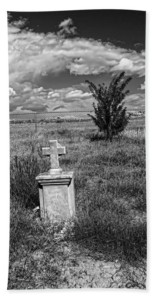 Hand Towel featuring the photograph Cemetery Series Manderson Wy by Cathy Anderson