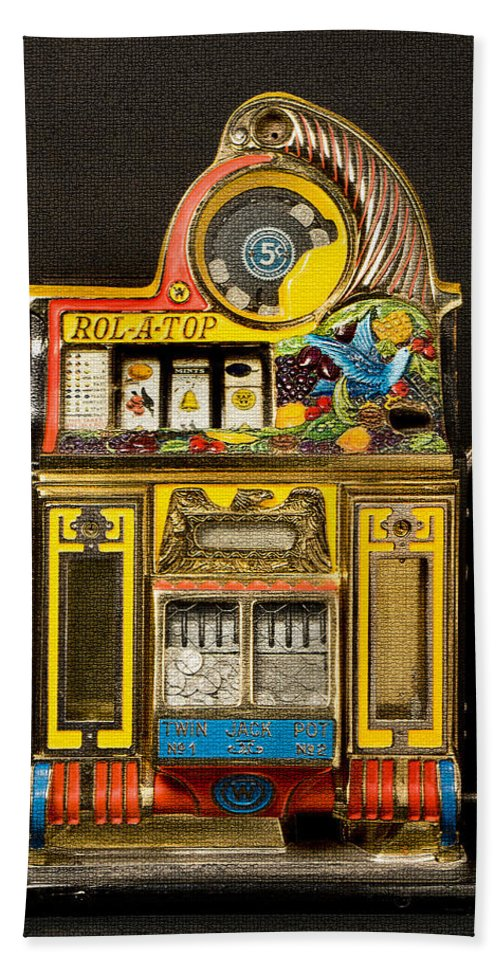 5 Cent Slot Machine Hand Towel featuring the digital art 5 Cent Slot Machine by Marvin Blaine