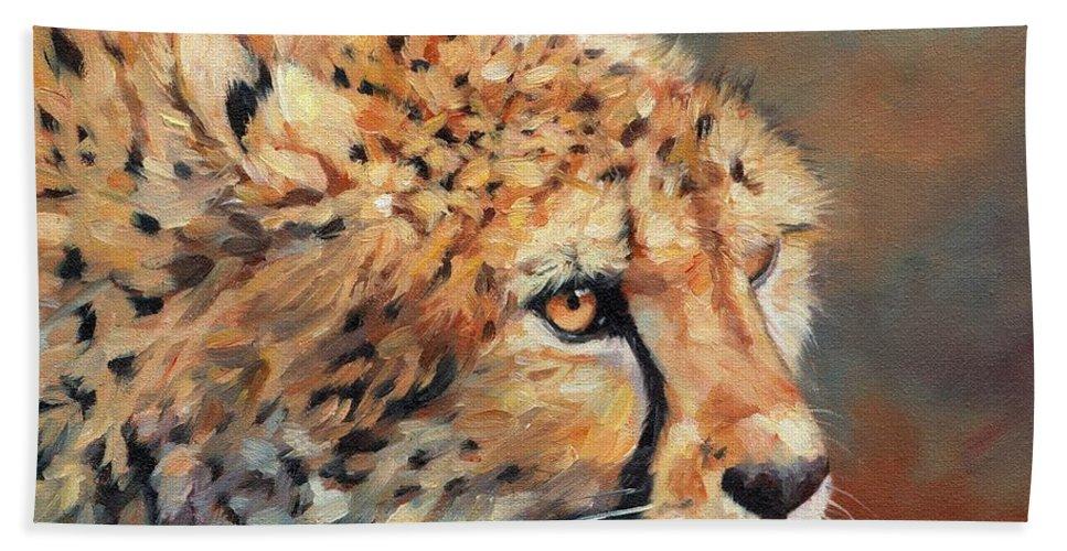 Cheetah Bath Sheet featuring the painting Cheetah by David Stribbling
