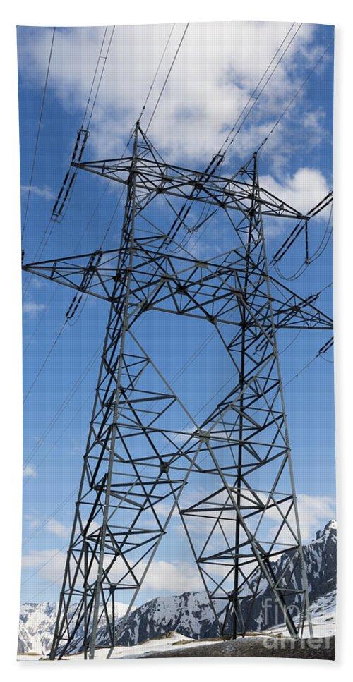 Electricity Pylon Bath Sheet featuring the photograph Electricity Pylon by Mats Silvan