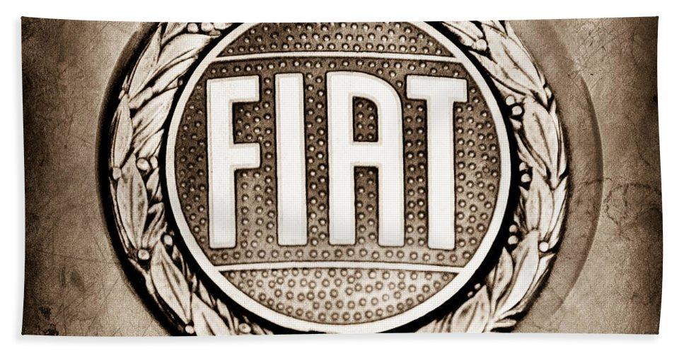 Fiat Emblem Hand Towel featuring the photograph Fiat Emblem by Jill Reger