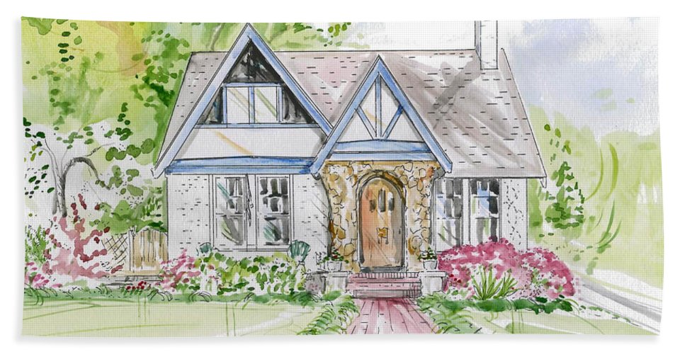 Ink Hand Towel featuring the mixed media House Rendering by Lizi Beard-Ward