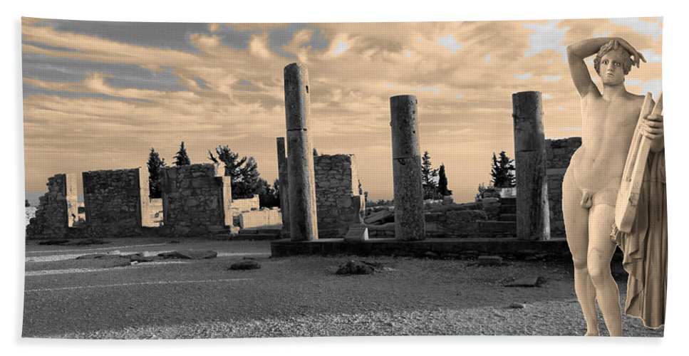 Augusta Stylianou Hand Towel featuring the digital art Kourion-temple Of Apollo by Augusta Stylianou