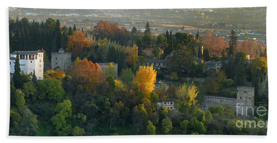 The Alhambra Bath Sheet featuring the photograph The Alhambra Palace by Guido Montanes Castillo