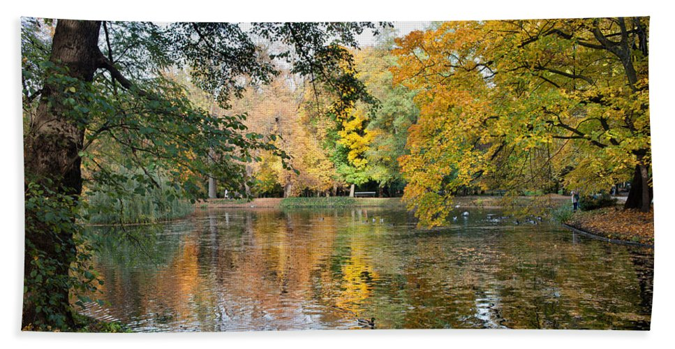 Pond Hand Towel featuring the photograph Lazienki Park In Warsaw by Artur Bogacki