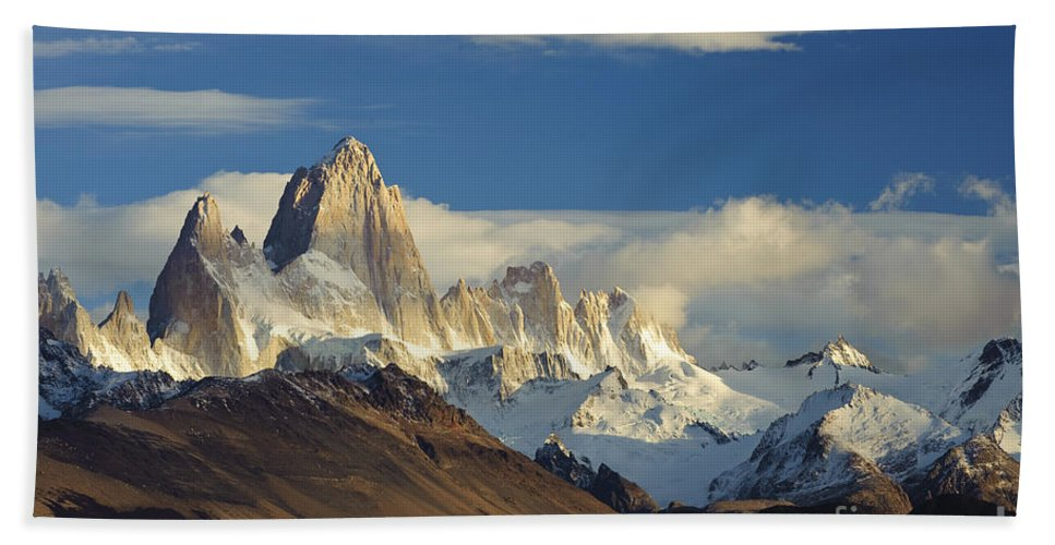 Argentina Bath Sheet featuring the photograph Mount Fitzroy, Argentina by John Shaw