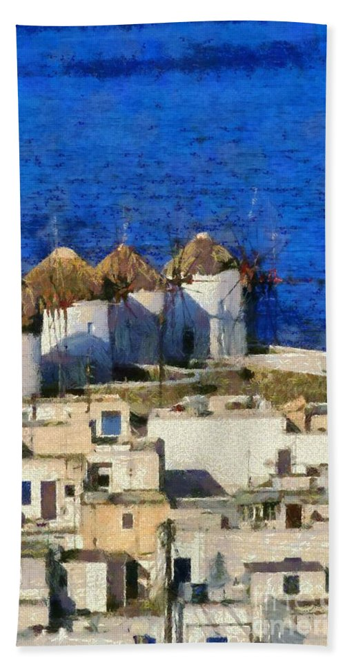 Mykonos; Mikonos; Town; City; Chora; Hora; Greece; Hellas; Cyclades; Kyklades; Greek; Hellenic; Aegean; Islands; Windmill; Windmills; Island; House; Houses; White; Sea; Overview; View; Sight; Holidays; Vacation; Travel; Trip; Voyage; Journey; Tourism; Touristic; Summer; Sunny; Paint; Painting; Paintings Hand Towel featuring the painting Mykonos Town by George Atsametakis