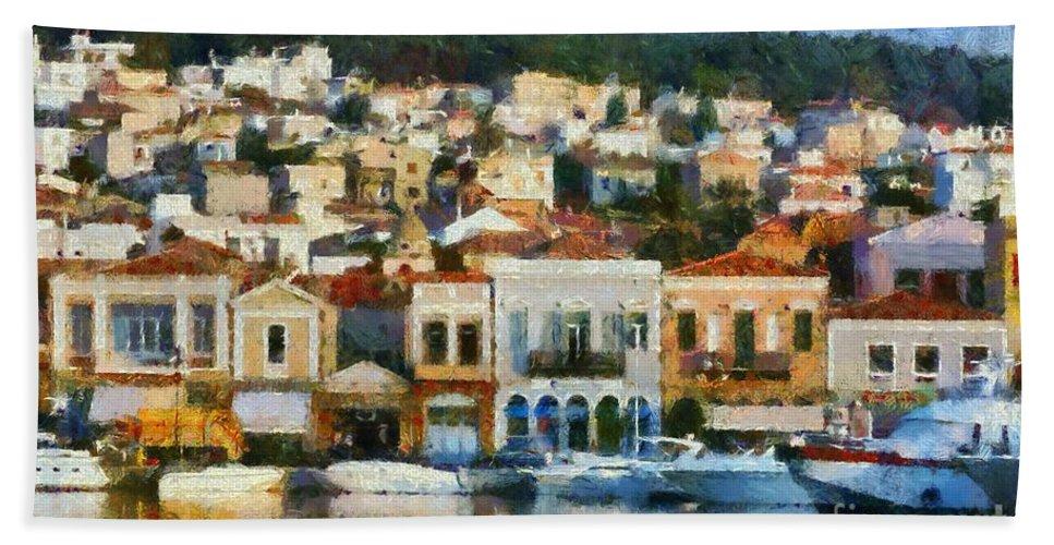 Lesvos; Lesbos; Mytilini; Mitilini; Mytilene; City; Town; Port Hand Towel featuring the painting Mytilini Port by George Atsametakis