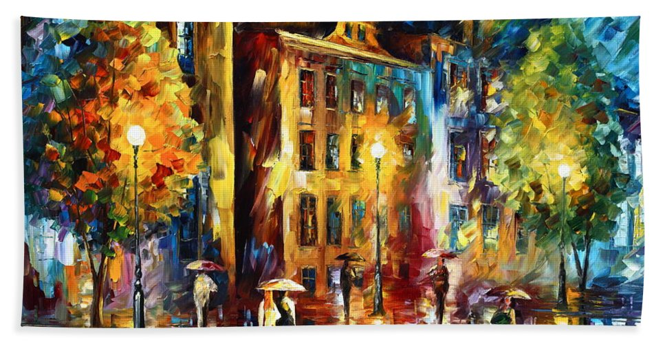 Night Hand Towel featuring the painting Night City by Leonid Afremov