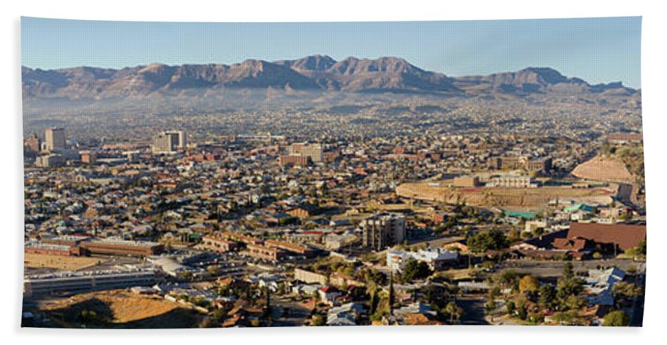Photography Bath Sheet featuring the photograph Panoramic View Of Skyline And Downtown by Panoramic Images
