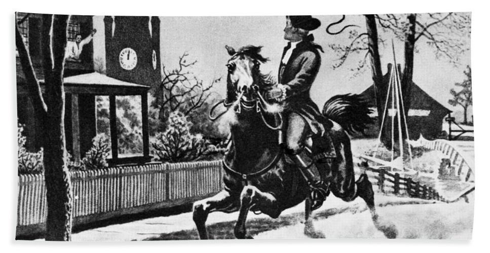 1775 Hand Towel featuring the photograph Paul Reveres Ride, 1775 by Granger