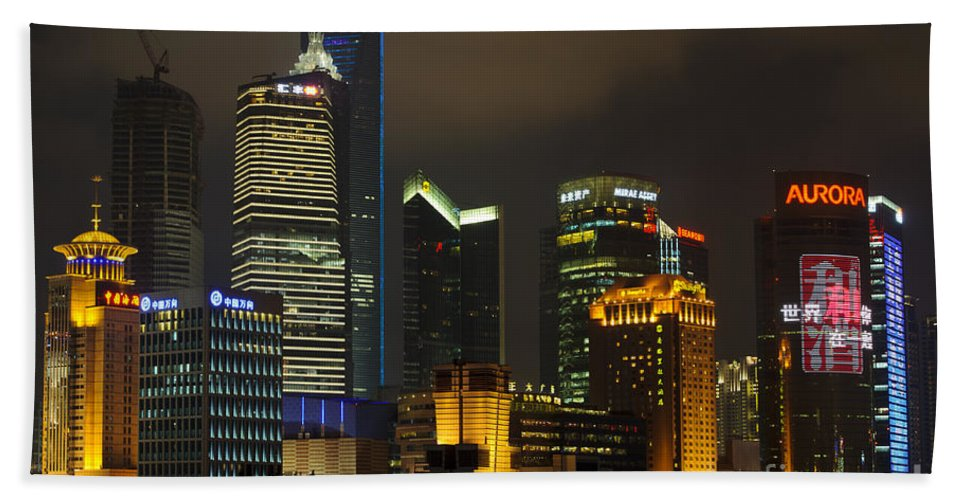 Asia Bath Sheet featuring the photograph Pudong At Night by John Shaw