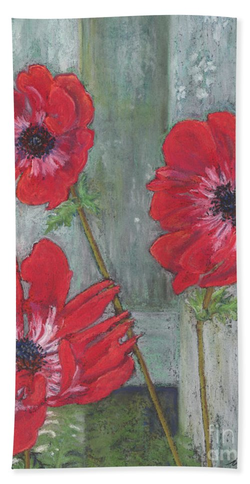 Poppies Bath Sheet featuring the painting Red Poppies by Vicki Baun Barry