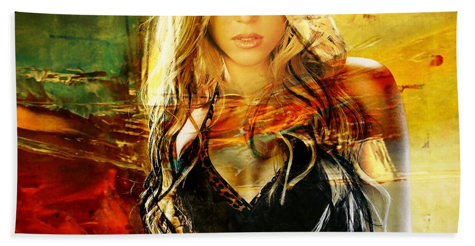 Shakira Mixed Media Mixed Media Mixed Media Hand Towel featuring the mixed media Shakira by Marvin Blaine