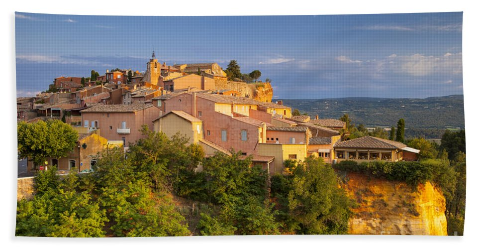 Buildings Bath Sheet featuring the photograph Sunrise Over Roussillon by Brian Jannsen