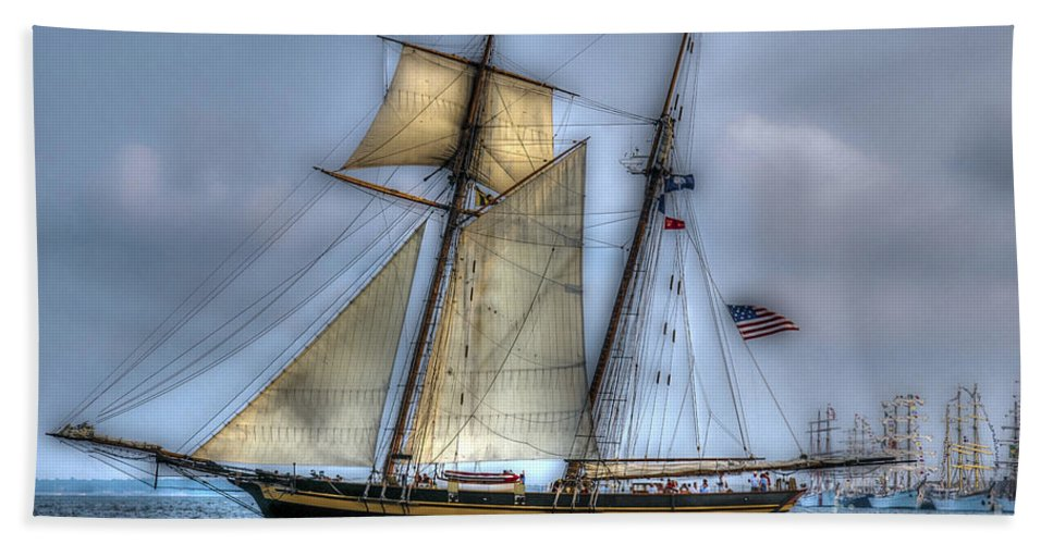 Tall Ship Hand Towel featuring the photograph Tall Ships by Dale Powell