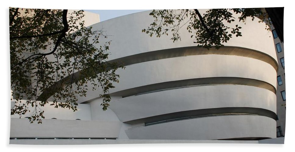 Scenic Hand Towel featuring the photograph The Guggenheim by Rob Hans