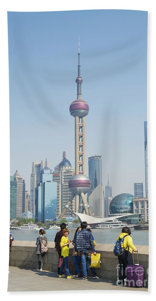 Architecture Hand Towel featuring the photograph View Of Pudong In Shanghai China by Jacek Malipan