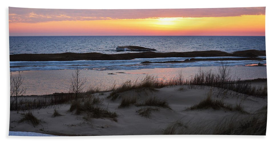 Lake Michigan Bath Sheet featuring the photograph Winter Sunset by Linda Kerkau