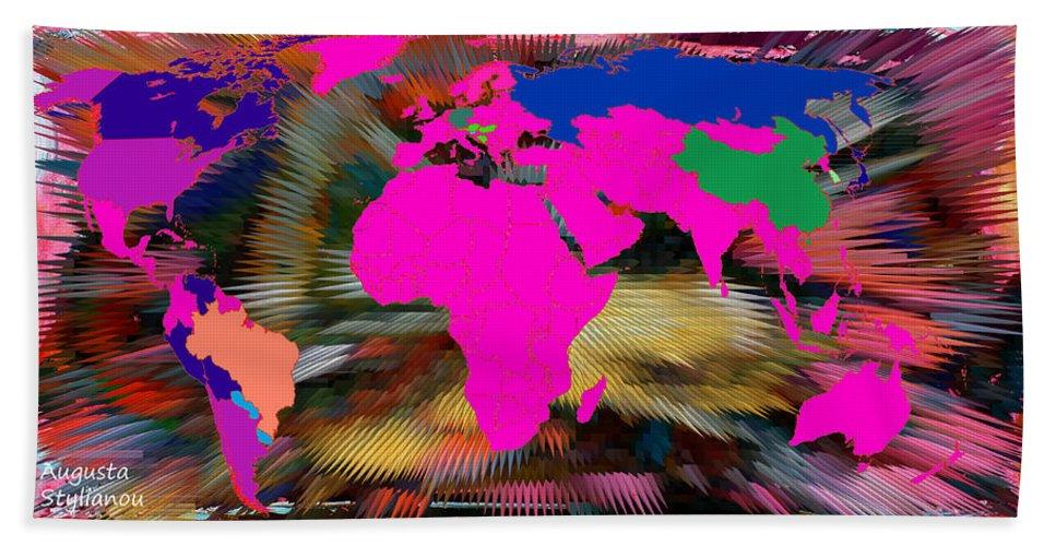 Augusta Stylianou Bath Sheet featuring the digital art World Map And Human Life by Augusta Stylianou