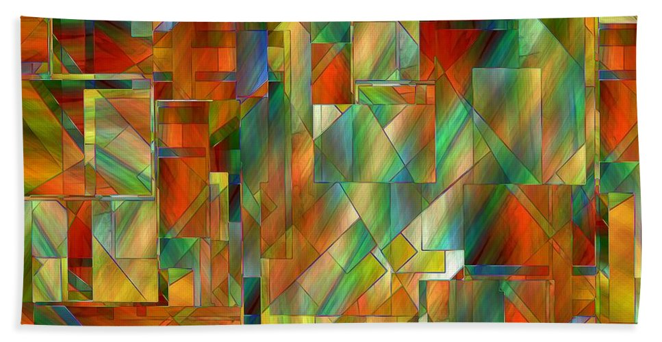 Abstract Bath Sheet featuring the painting 53 Doors by RC DeWinter
