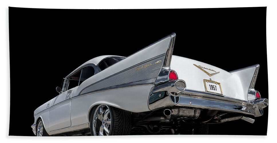 Classic Hand Towel featuring the digital art '57 Bel Air by Douglas Pittman
