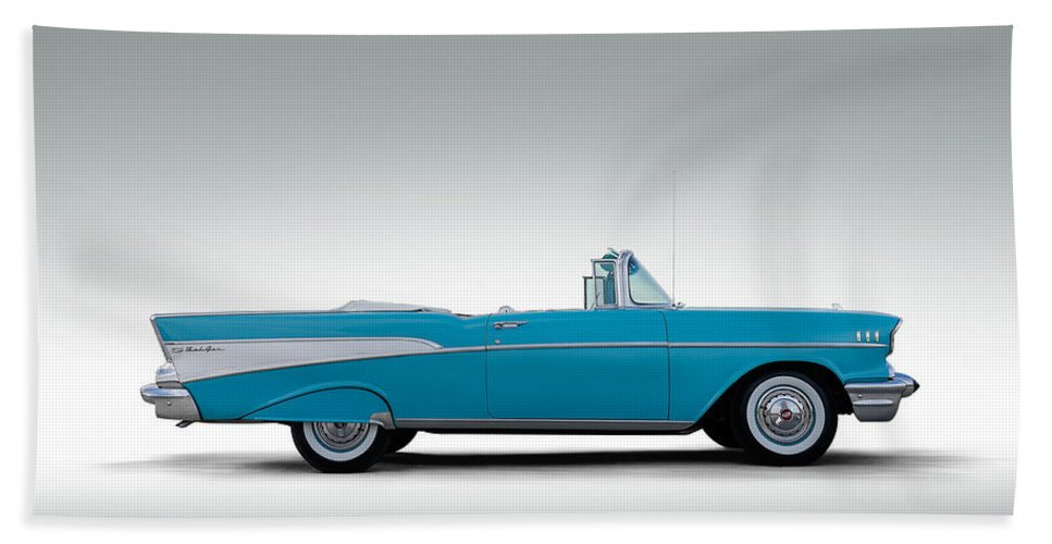 57 Chevy Bath Towel featuring the digital art 57 Chevy Convertible by Douglas Pittman
