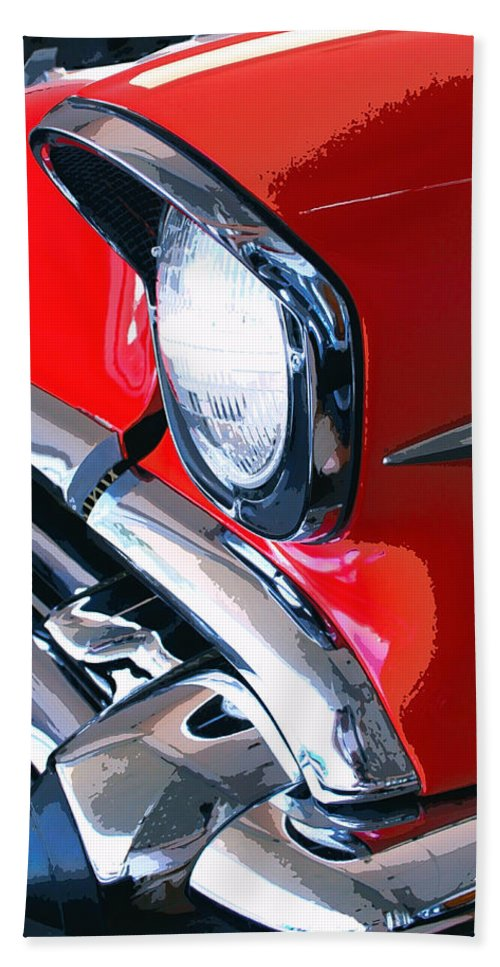 57 Chevy Front End Hand Towel featuring the photograph 57 Chevy Front End Palm Springs by William Dey