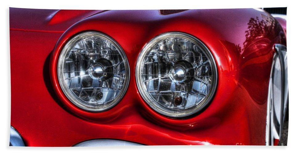 1958 Corvette West Coast Customs Bath Sheet featuring the photograph 58 Vette Lights by Tommy Anderson