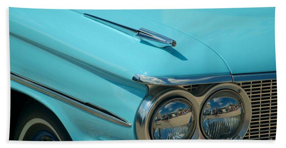 Car Bath Sheet featuring the photograph 59 Pontiac Catalina Hood Ornament by Mark Dodd