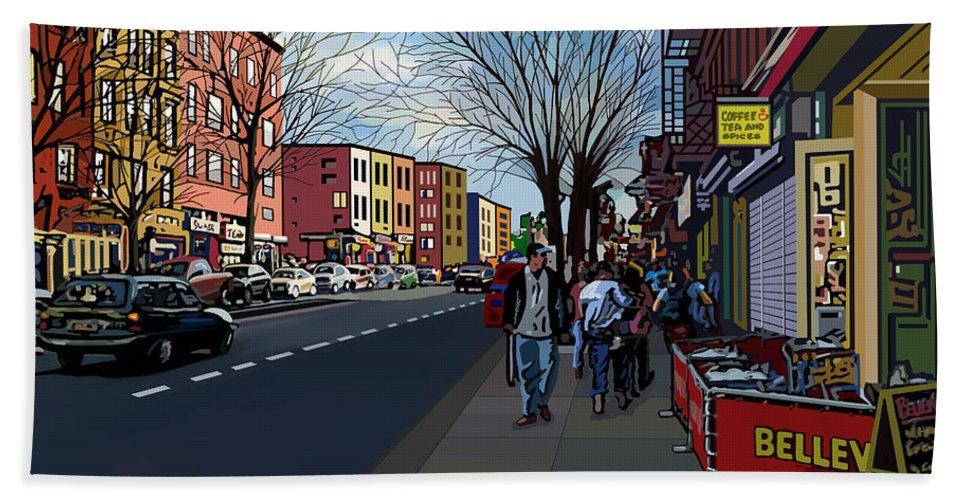 Landscape Bath Sheet featuring the digital art 5th Ave Park Slope Brooklyn by James Mingo