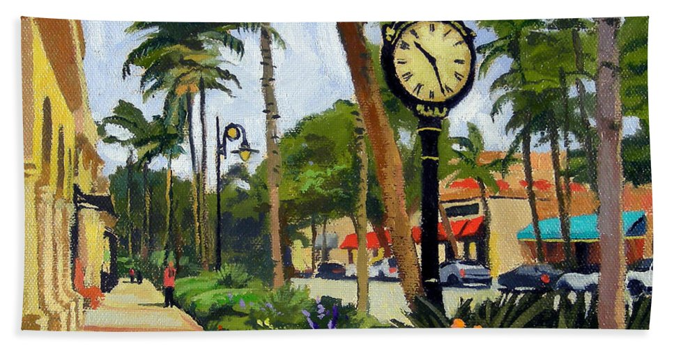 Christine Hopkins Hand Towel featuring the painting 5th Avenue Naples Florida by Christine Hopkins